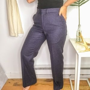 Vintage High Rise Mens Navy Blue Straight Trousers